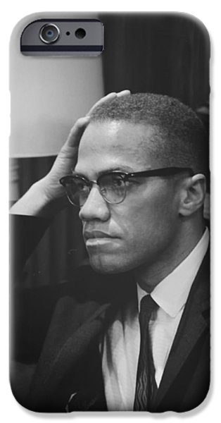 Ponder iPhone Cases - Malcolm X 1964 iPhone Case by Mountain Dreams