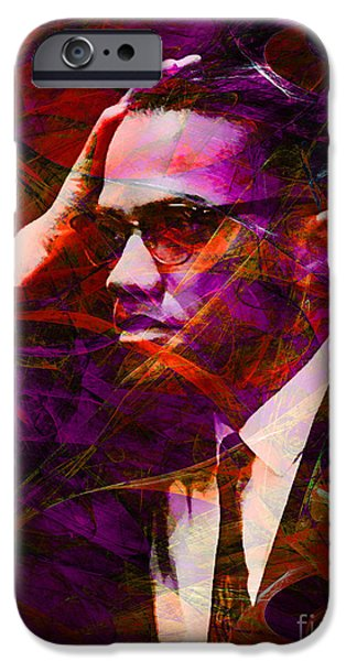 Malcolm X iPhone Cases - Malcolm X 20140105m28 with text iPhone Case by Wingsdomain Art and Photography
