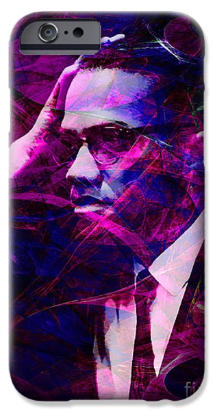 Malcolm X iPhone Cases - Malcolm X 20140105m88 with text iPhone Case by Wingsdomain Art and Photography