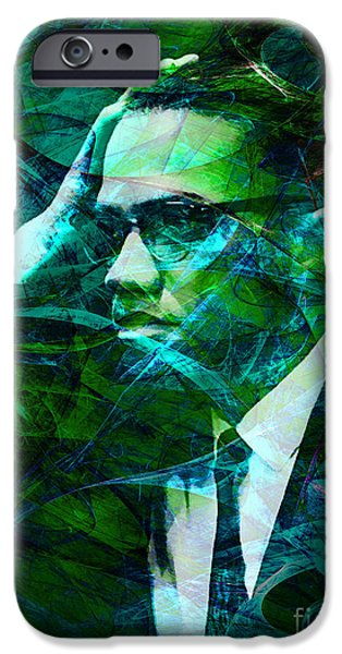 Malcolm X iPhone Cases - Malcolm X 20140105p138 with text iPhone Case by Wingsdomain Art and Photography