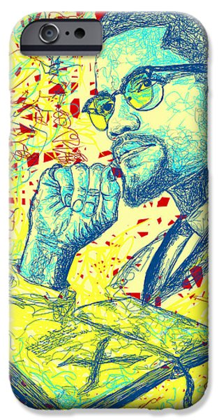 Kenal Louis iPhone Cases - Malcolm X Drawing In Lines iPhone Case by Kenal Louis