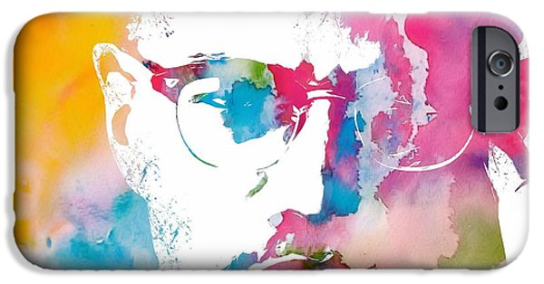 Revolution Mixed Media iPhone Cases - Malcolm X Watercolor iPhone Case by Dan Sproul