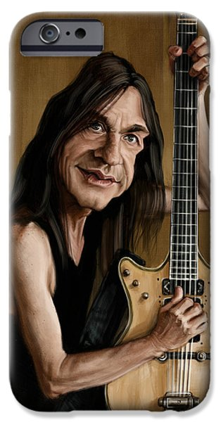 Caricature Digital Art iPhone Cases - Malcolm Young iPhone Case by Andre Koekemoer