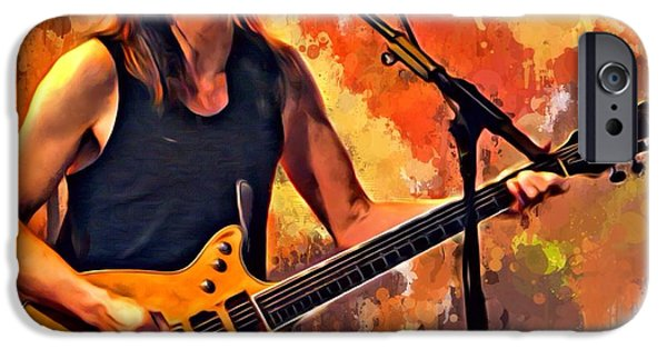 Digital Designs iPhone Cases - Malcolm Young Portrait iPhone Case by Scott Wallace