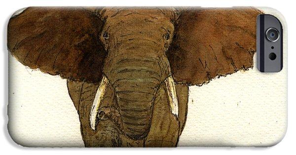 Elephant iPhone Cases - Male elephant iPhone Case by Juan  Bosco