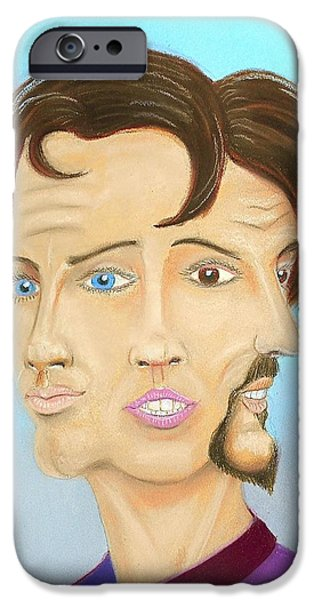 Character Portraits Pastels iPhone Cases - Male Female Other iPhone Case by R Neville Johnston