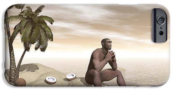 Thinking iPhone Cases - Male Homo Erectus Sitting Alone iPhone Case by Elena Duvernay