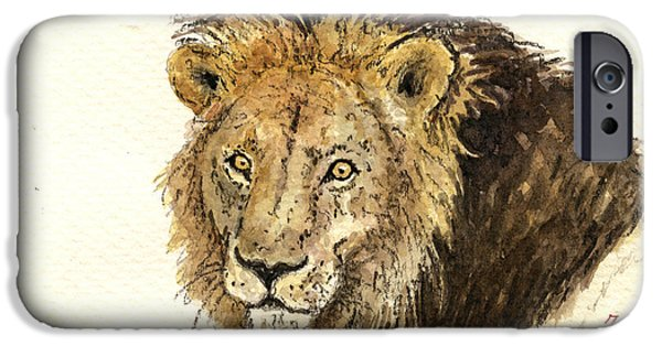 Nature Study Paintings iPhone Cases - Male lion iPhone Case by Juan  Bosco