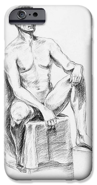 Abstract Shapes Drawings iPhone Cases - Male Model Seated Charcoal Study iPhone Case by Irina Sztukowski