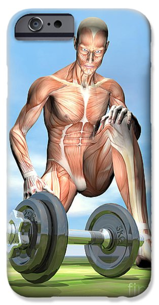 Concentration Digital iPhone Cases - Male Musculature Looking At A Dumbbell iPhone Case by Elena Duvernay