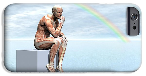 Thinking iPhone Cases - Male Musculature Sitting On A Cube iPhone Case by Elena Duvernay
