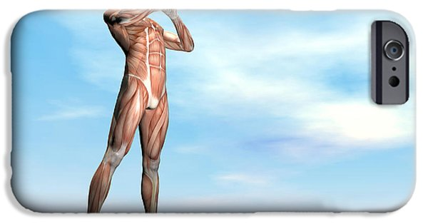 Concentration Digital iPhone Cases - Male Musculature Standing On The Green iPhone Case by Elena Duvernay