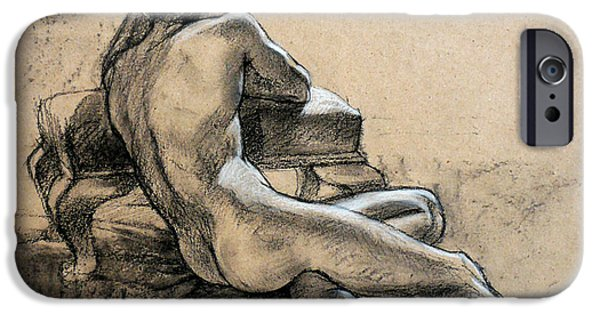 Male Nude Drawing Drawings iPhone Cases - Male Nude iPhone Case by Roz McQuillan
