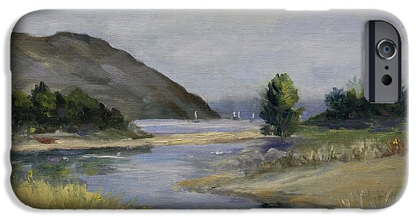 Malibu Paintings iPhone Cases - Malibu Lagoon Winter iPhone Case by Jan Cipolla