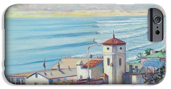 Malibu Paintings iPhone Cases - Malibu Pier iPhone Case by Michael Knowlton