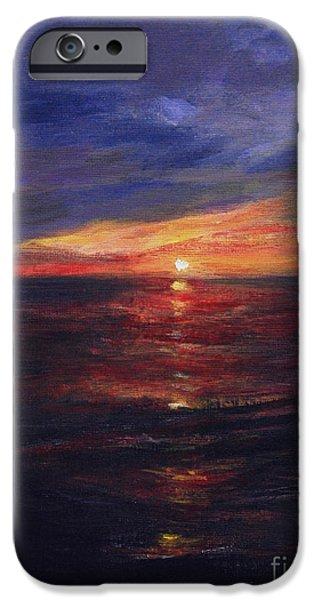 Malibu Paintings iPhone Cases - Malibu Sunset iPhone Case by Anees Peterman