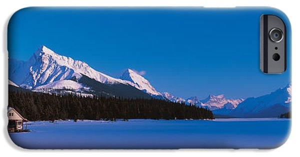 Frozen Lake iPhone Cases - Maligne Lake & Canadian Rockies Alberta iPhone Case by Panoramic Images