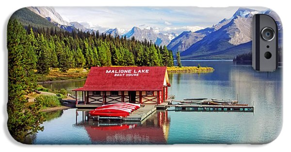 Fed iPhone Cases - Maligne Lake boathouse iPhone Case by Carolyn Derstine