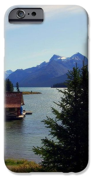 Maligne Lake Boathouse iPhone Case by KAREN WILES