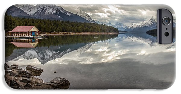 Canoe iPhone Cases - Maligne Lake Jasper iPhone Case by Pierre Leclerc Photography