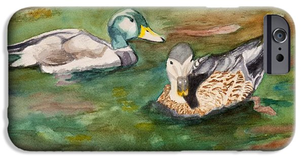Creek Reliefs iPhone Cases - Mallard Ducks with Spawning Salmon iPhone Case by Charlotte Brux-Bolinger