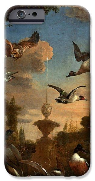 Garden Scene Digital iPhone Cases - Mallard Golden Eagle Wild Fowl in Flight iPhone Case by Melchior de Hondecoeter