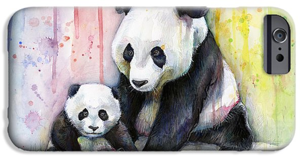 Wall Mixed Media iPhone Cases - Panda Watercolor Mom and Baby iPhone Case by Olga Shvartsur