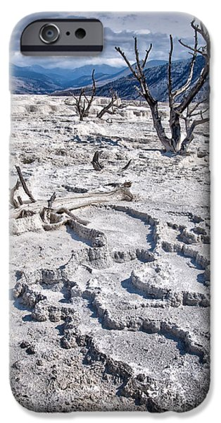 Mammoth Terrace iPhone Cases - Mammoth terraces vertical iPhone Case by Delphimages Photo Creations
