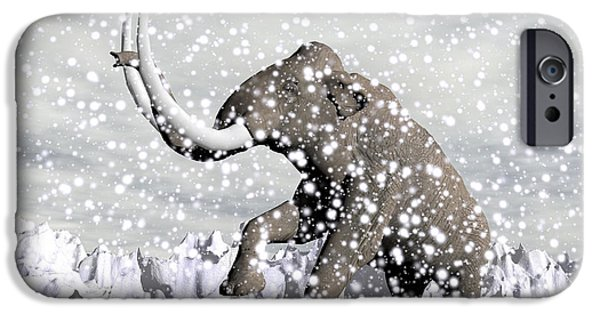 Winter Storm iPhone Cases - Mammoth Walking Through A Blizzard iPhone Case by Elena Duvernay
