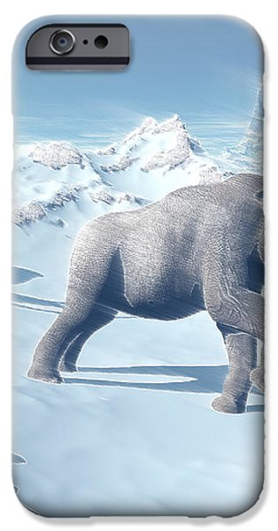 Mammoths Walking Slowly On The Snowy iPhone Case by Elena Duvernay