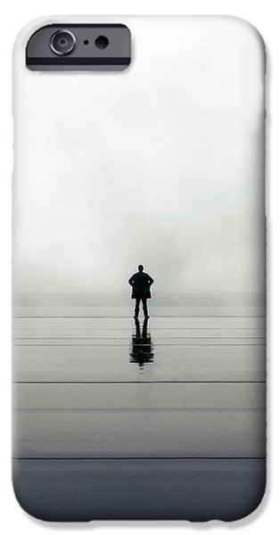 Rain iPhone Cases - Man Alone iPhone Case by Joana Kruse