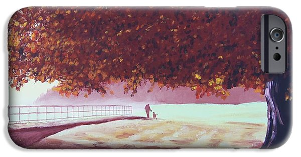 Dog In Landscape iPhone Cases - Man and Dog iPhone Case by Glenn Harden