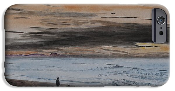 Black Dog iPhone Cases - Man and Dog on the Beach iPhone Case by Ian Donley