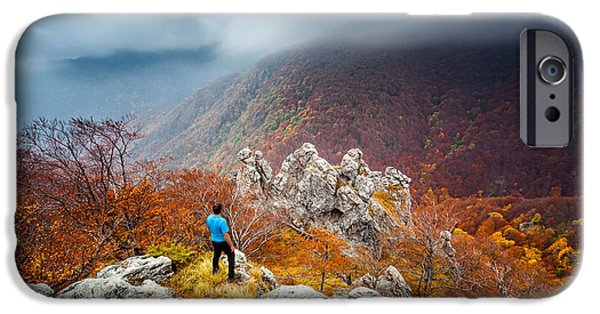 Self Portrait Photographs iPhone Cases - Man And the Mountain iPhone Case by Evgeni Dinev