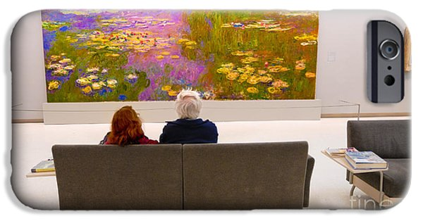 Carnegie Museum iPhone Cases - Man and Woman and Monet Painting at Carnegie Museum in Pittsburgh Pennsylvania iPhone Case by Amy Cicconi