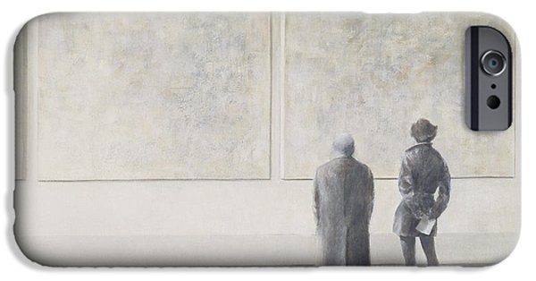 Thinking iPhone Cases - Man And Woman In An Art Gallery iPhone Case by Lincoln Seligman