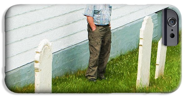 Cemetary iPhone Cases - Man at Headstone iPhone Case by Boss Photographic