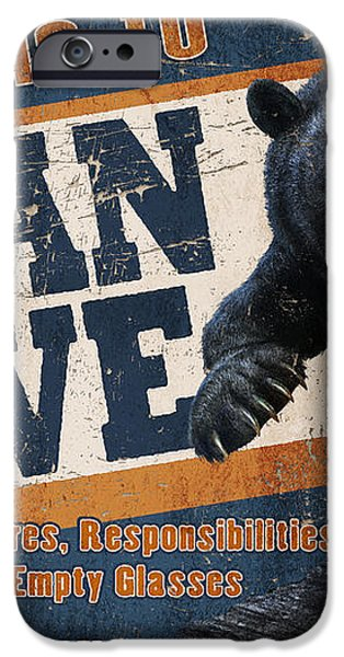 Man Cave Balck Bear iPhone Case by JQ Licensing