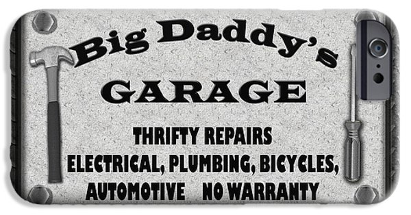 Work Tool Digital iPhone Cases - Man Cave-Big Daddys Garage  iPhone Case by Jean Plout