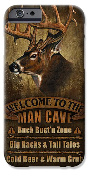 Man Cave Paintings iPhone Cases - Man Cave Deer iPhone Case by JQ Licensing