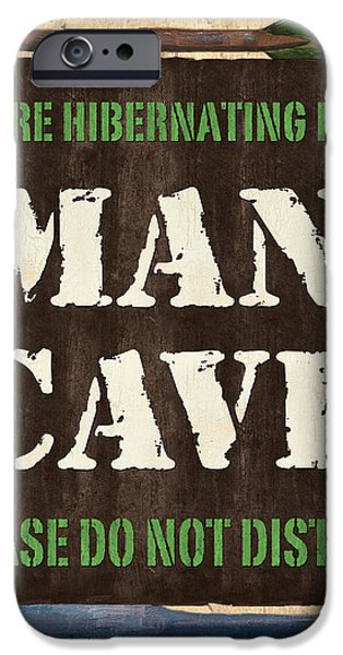 Man Cave Do Not Disturb iPhone Case by Debbie DeWitt