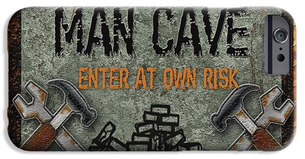 Work Tool Digital iPhone Cases - Man Cave-Enter at Own Risk iPhone Case by Jean Plout