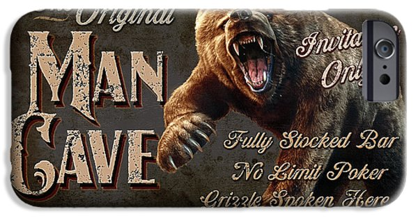Black Bear iPhone Cases - Man Cave Grizzly iPhone Case by JQ Licensing