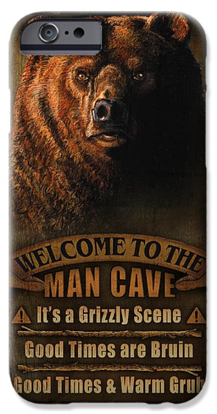 Pheasant iPhone Cases - Man Cave Grizzly iPhone Case by JQ Licensing