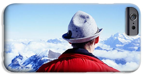 Thinking iPhone Cases - Man Contemplating Swiss Alps iPhone Case by Panoramic Images