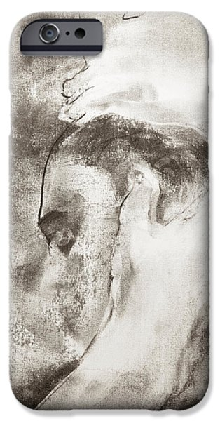 Drawing Pastels iPhone Cases - Man cradling anothers head iPhone Case by Janet Goddard