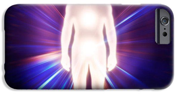 Luminous Body iPhone Cases - Man ethereal body energy astral body iPhone Case by Oleksiy Maksymenko