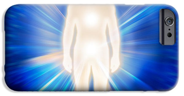 Luminous Body iPhone Cases - Man ethereal body energy emanations concept iPhone Case by Oleksiy Maksymenko