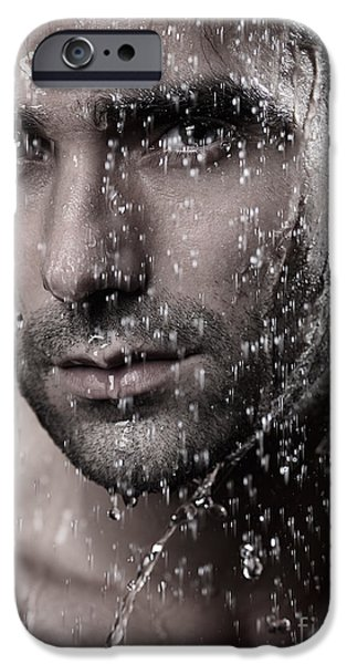 Dribbling iPhone Cases - Man face wet from water running down it iPhone Case by Oleksiy Maksymenko