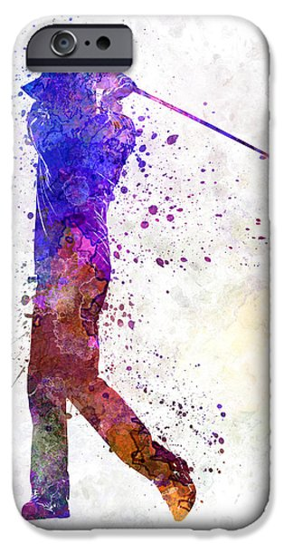 Cut-outs iPhone Cases - Man Golfer Swing Silhouette iPhone Case by Pablo Romero